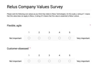 Screenshot of the follow-up Google Form survey