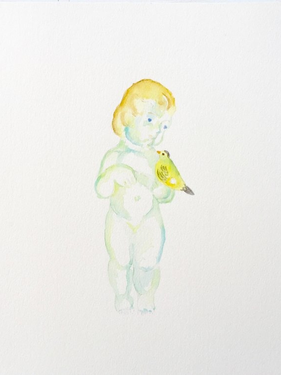 Porcelain Girl with Bird Figurine