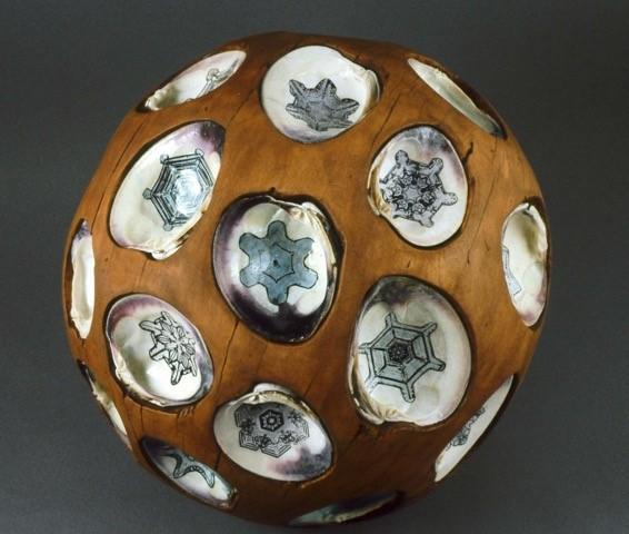 "Shell Ball   Beech, quahog shells, photocopy, watercolor, 13"" round, 1999"