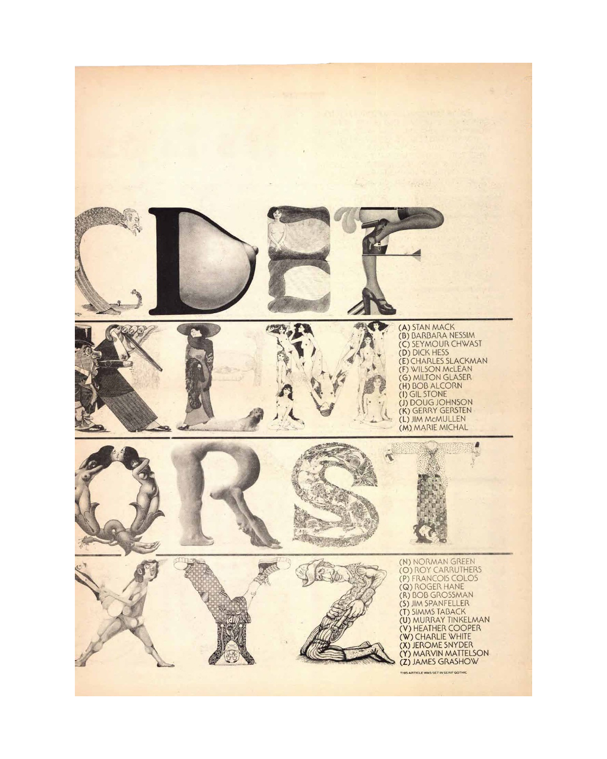 "Slackman drew the letter ""E"" for  UL&C , among a stellar lineup of artists"