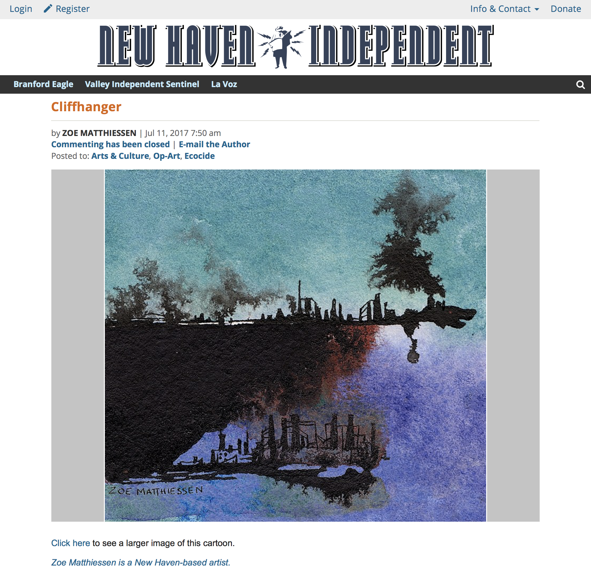 """Cliffhanger"" for the Op-Art ""Ecocide"" column in  New Haven Independent"