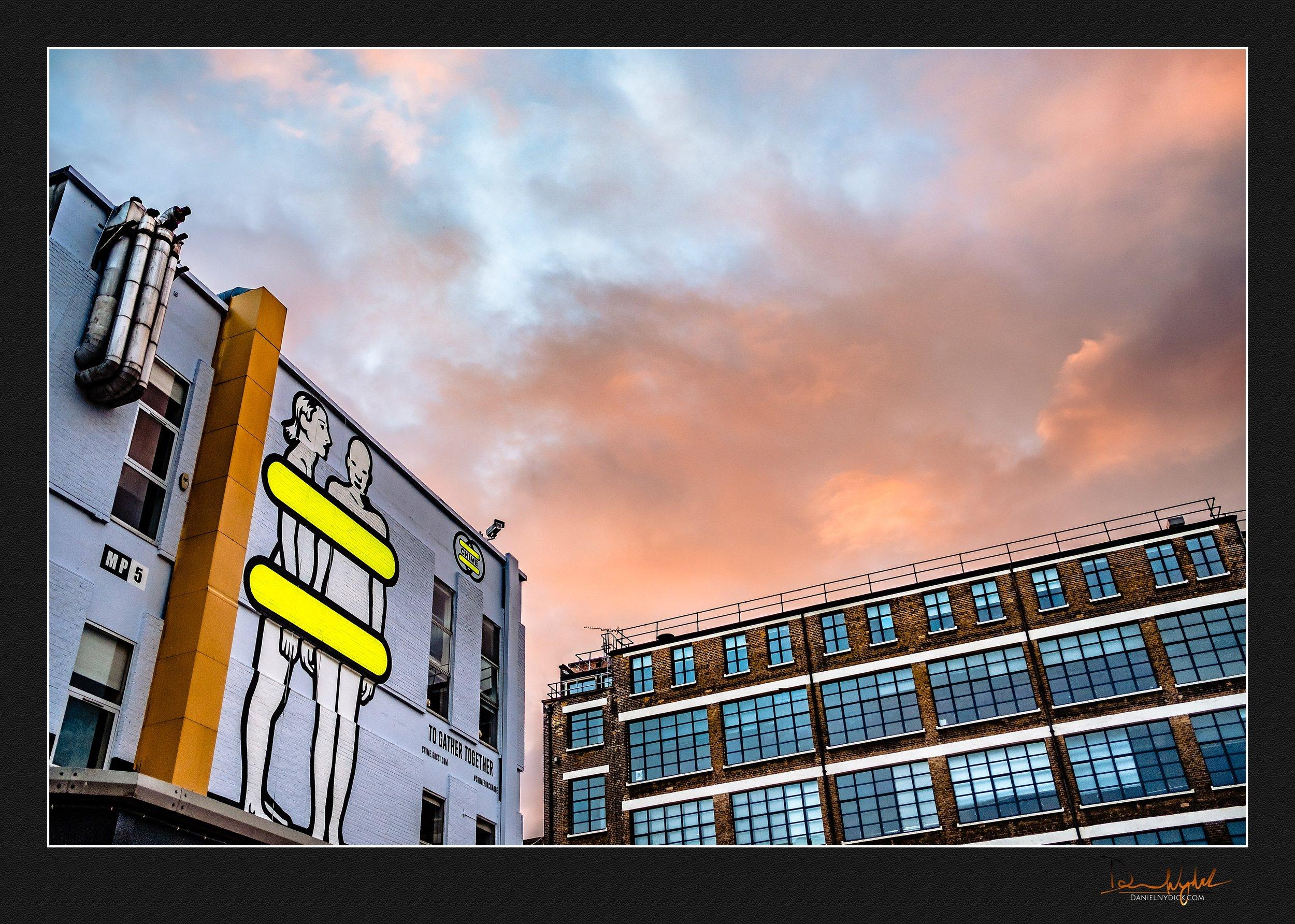 sunset, brick, lane, architecture, clouds, sky,