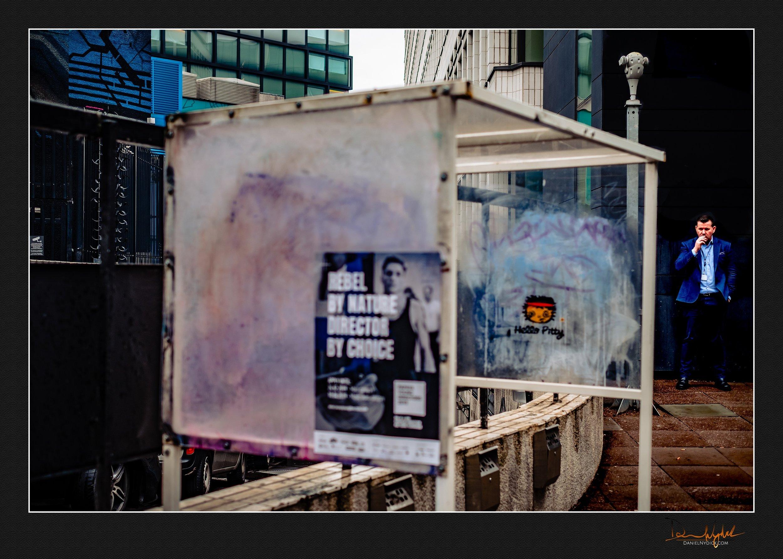 shoreditch, man, candid, public, street scene, smoking