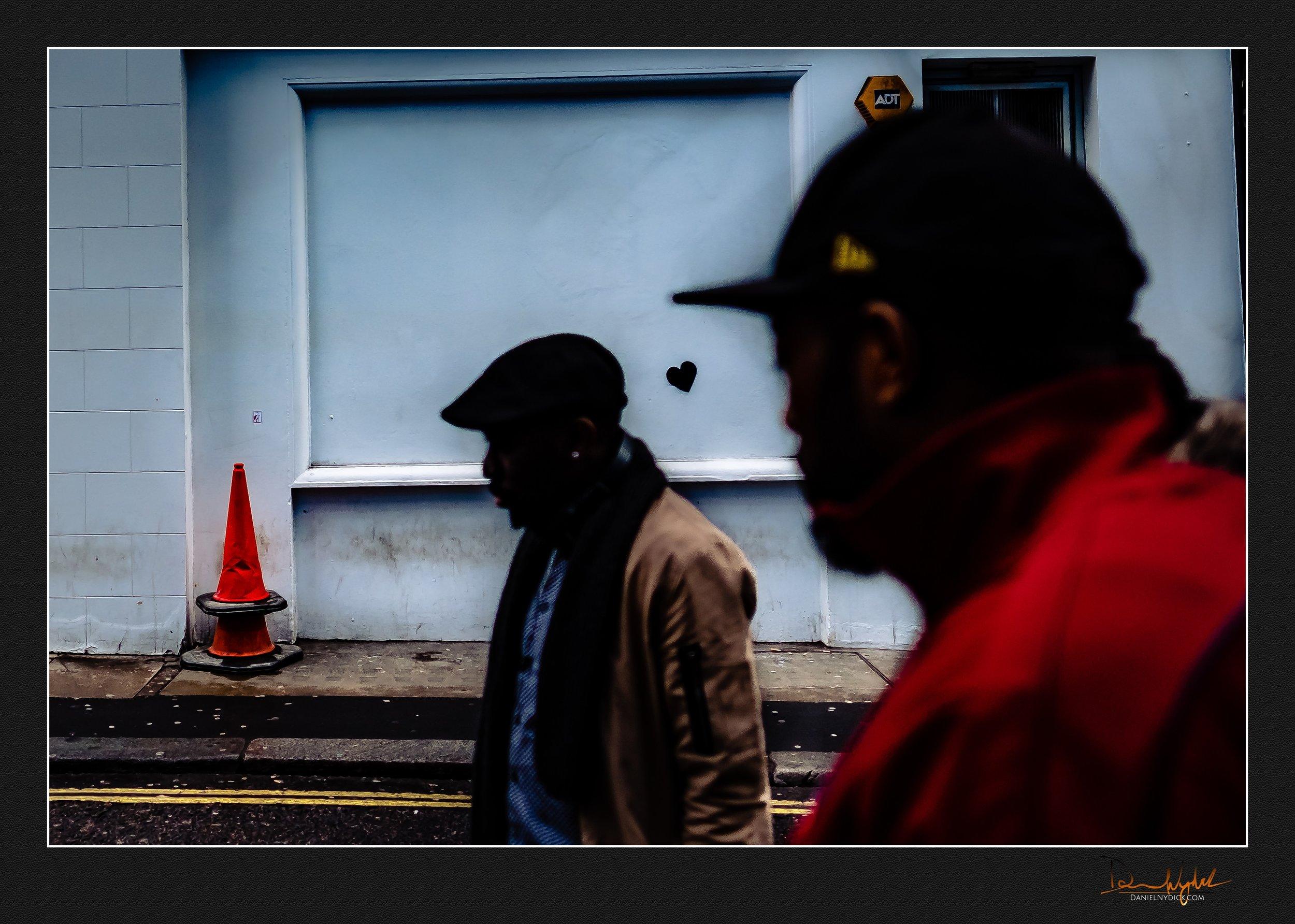 hearts, silhouette, people, street