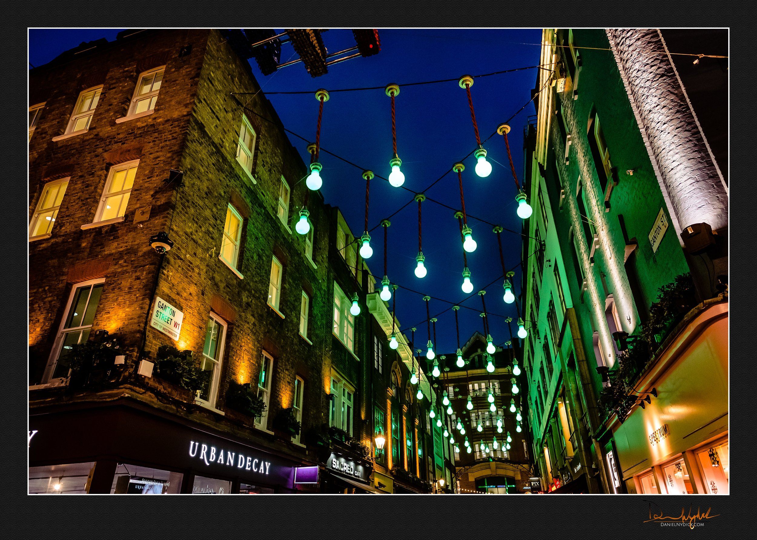 carnaby at night time, urban decay, green lights, architecture