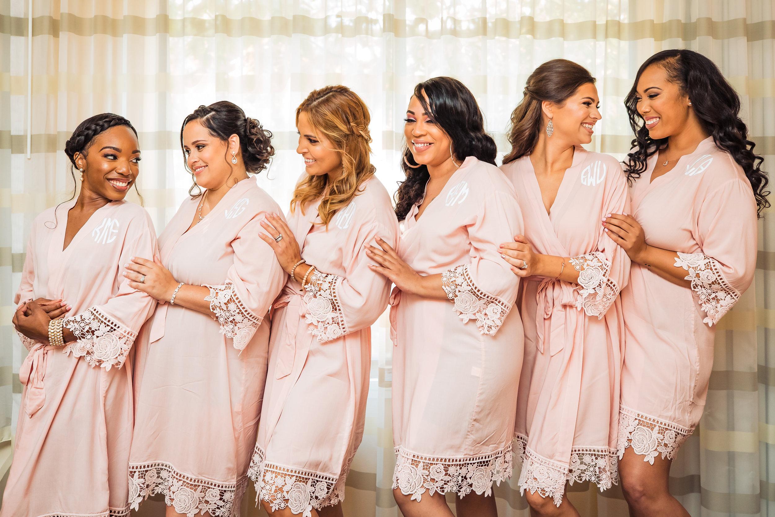 bridesmaids laughing, robes