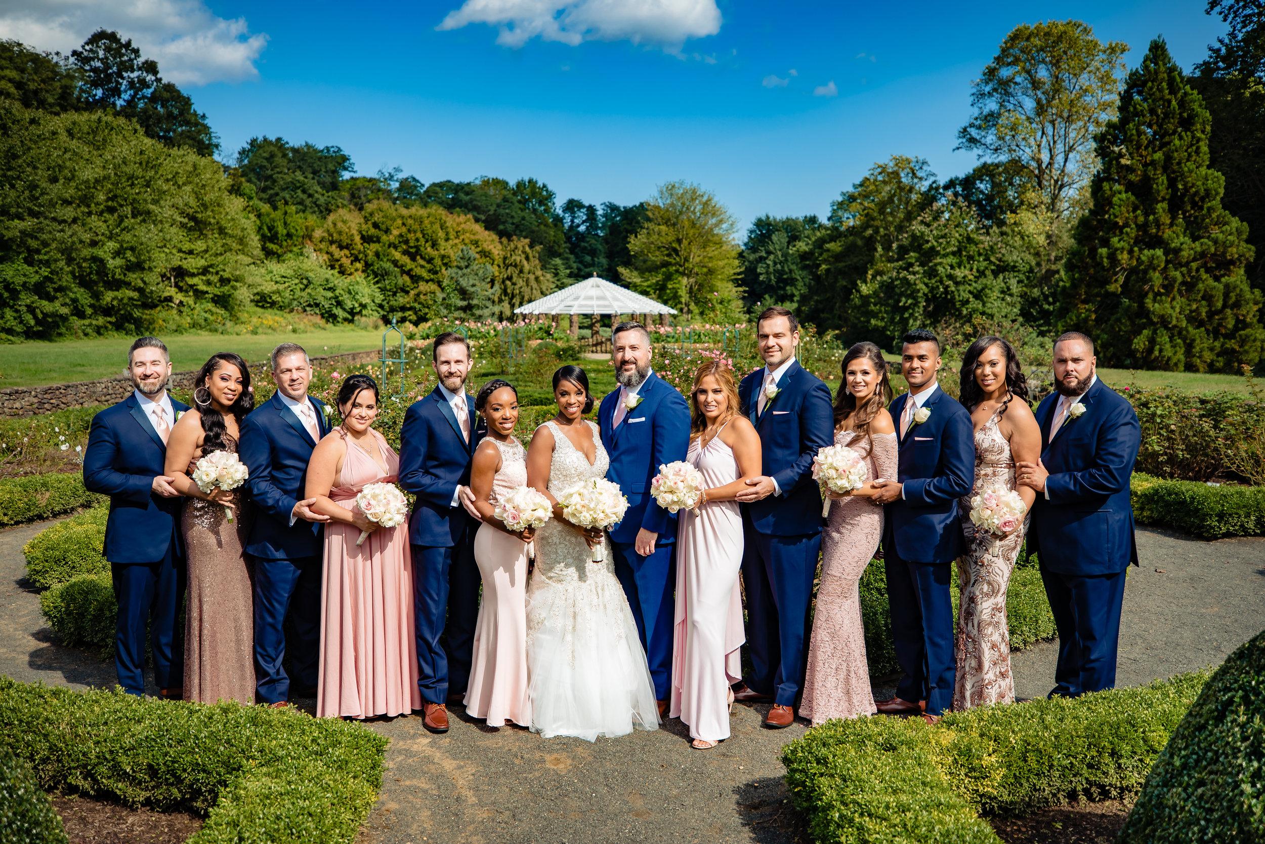 bridesmaids, groomsmen, bridal party, bride and groom at deep cu