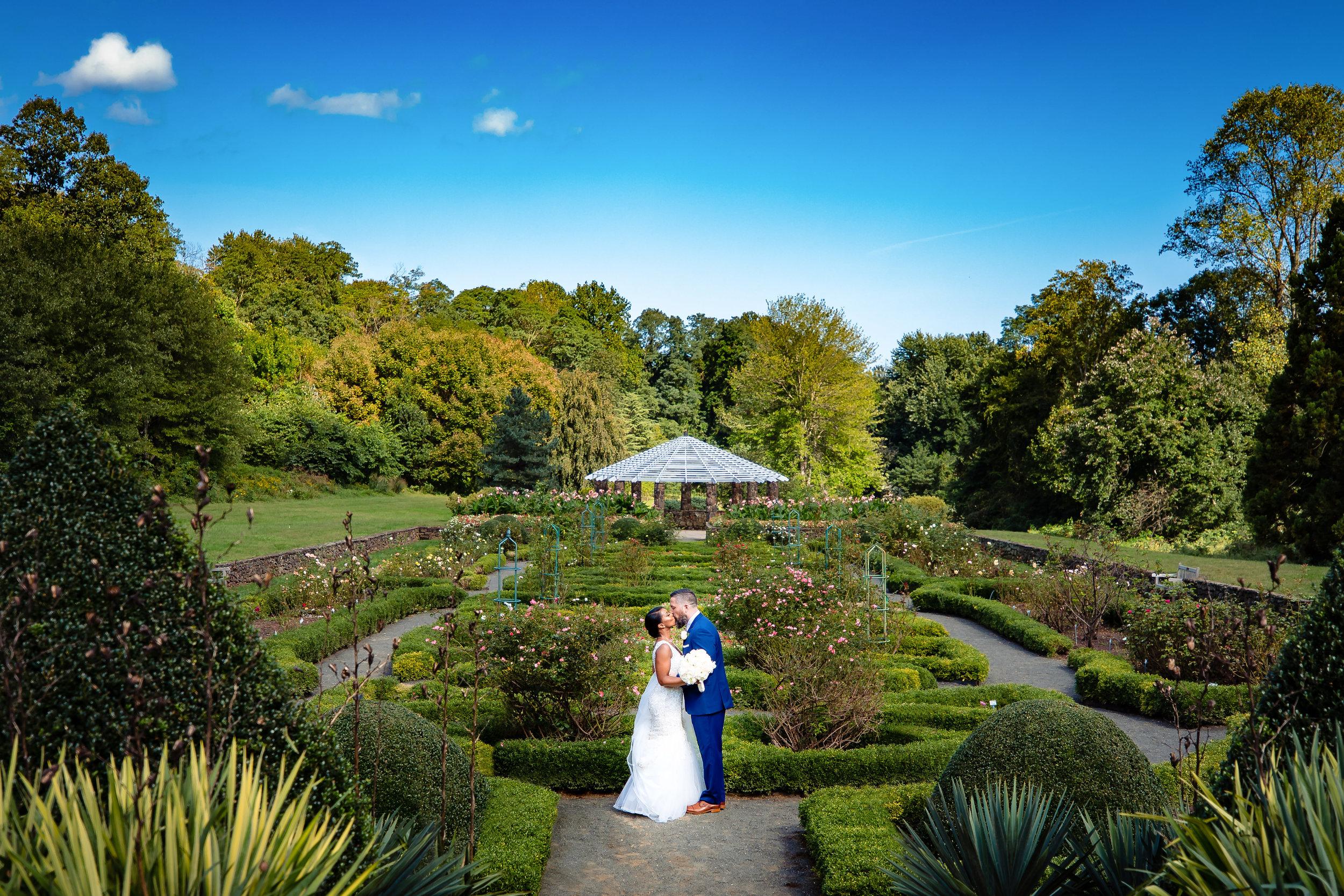 bride and groom portrait at deep cut gardens