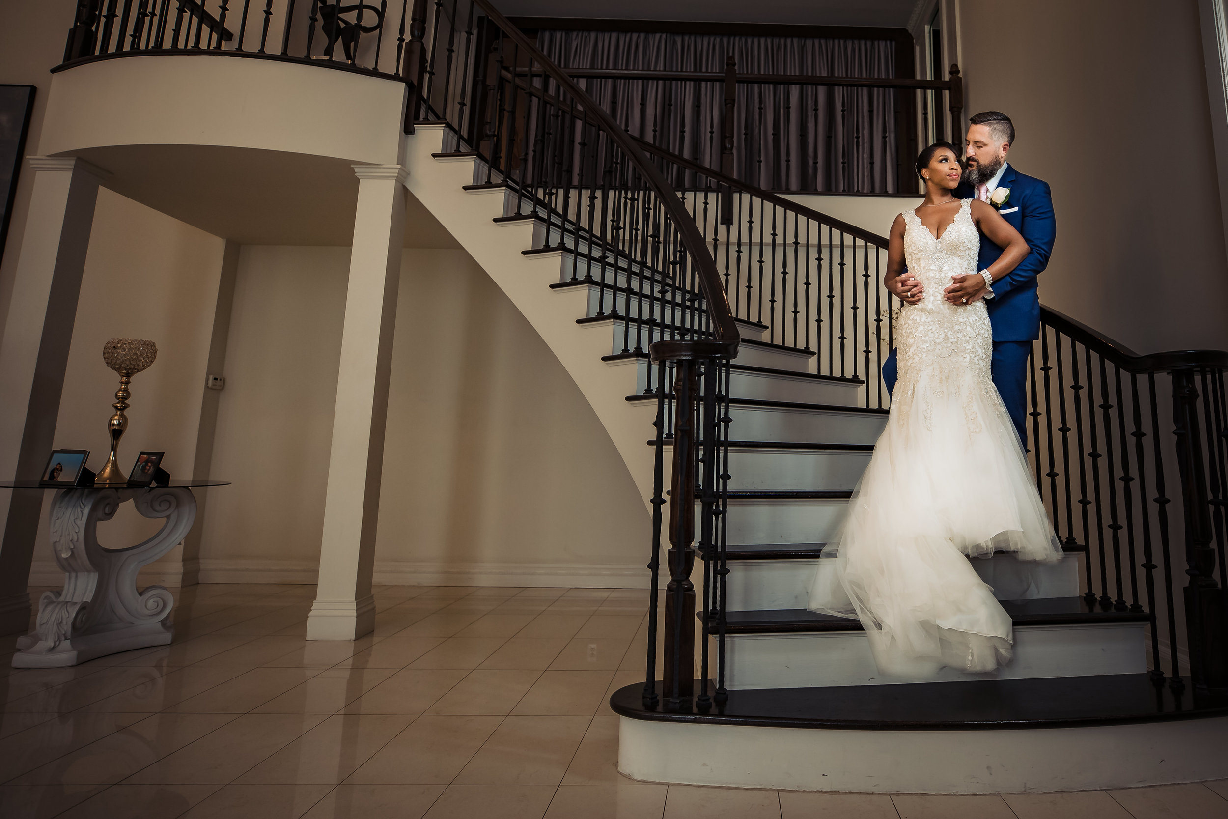 staircase portrait gramercy lakeside manor bride and groom
