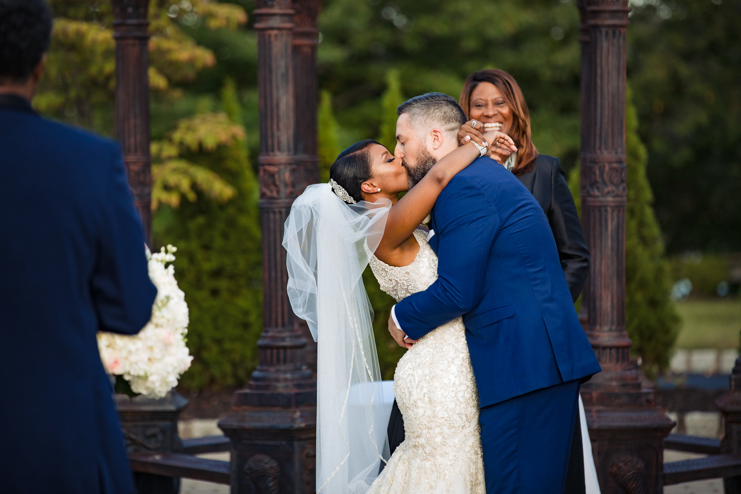 first kiss now married as bride and groom