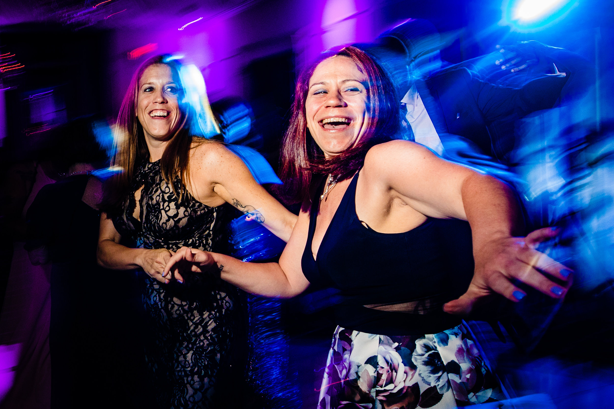 dancing fun crazy dance floor spinning colorful blue purple laug