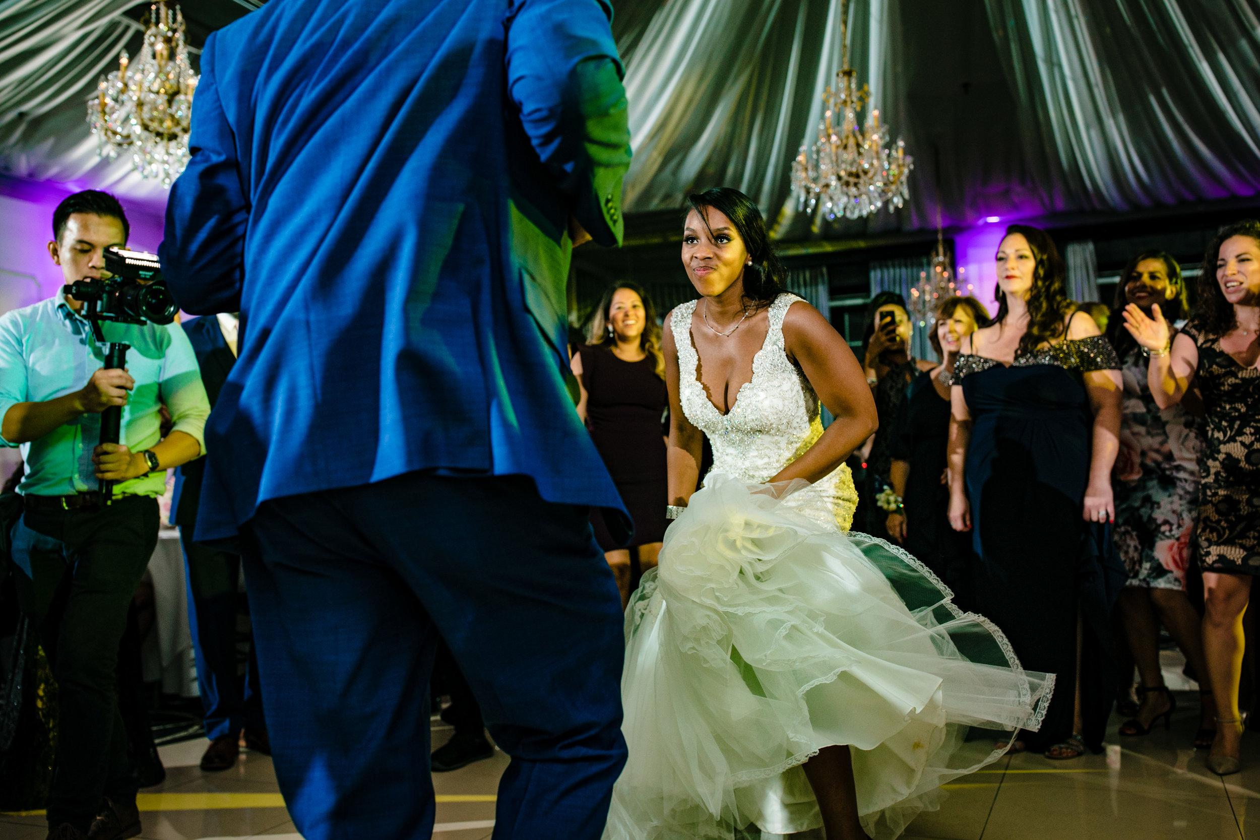 get down bride dance floor reception green blue uplighting