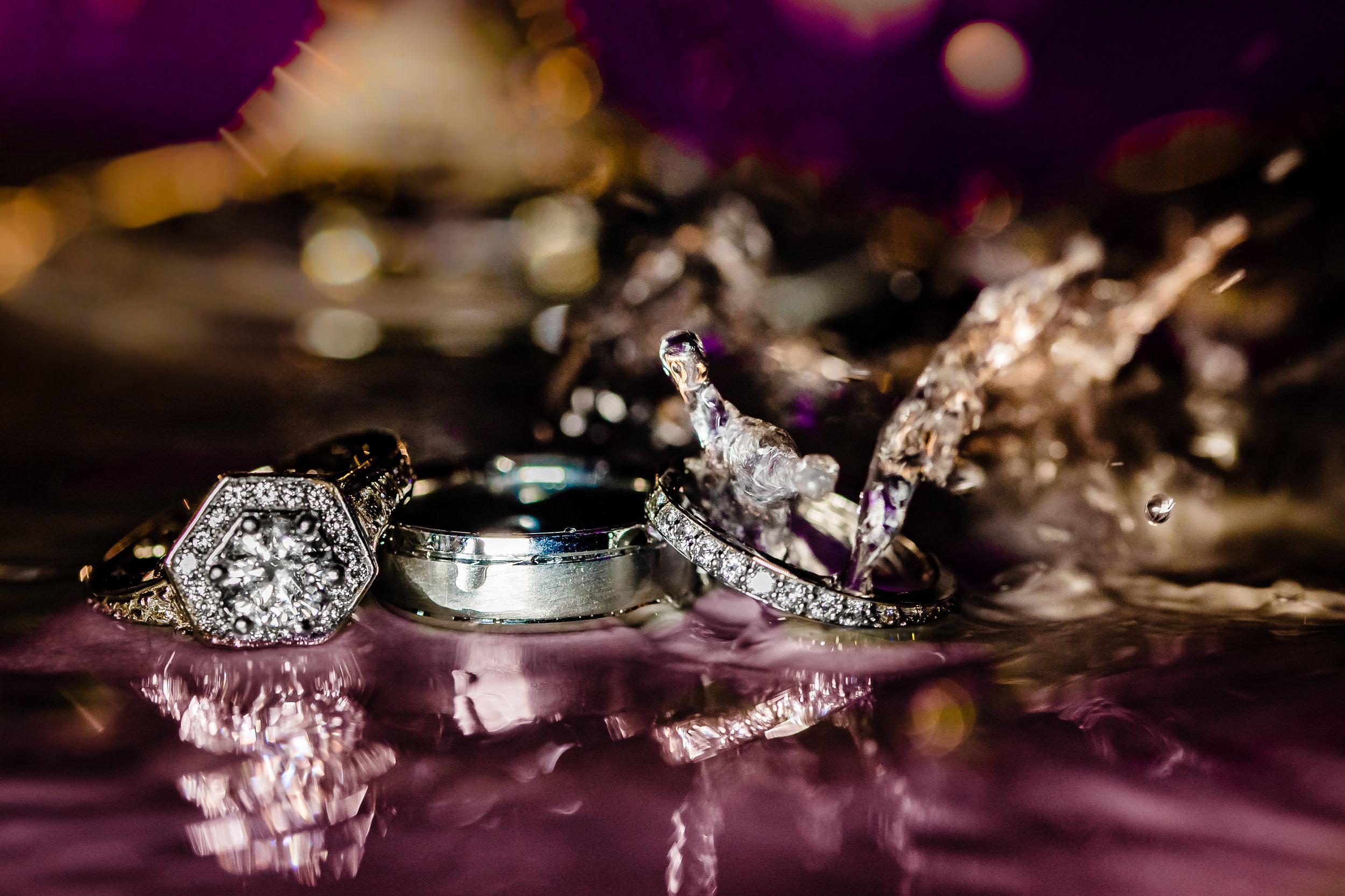 water splash ring shot wedding and engagement rings