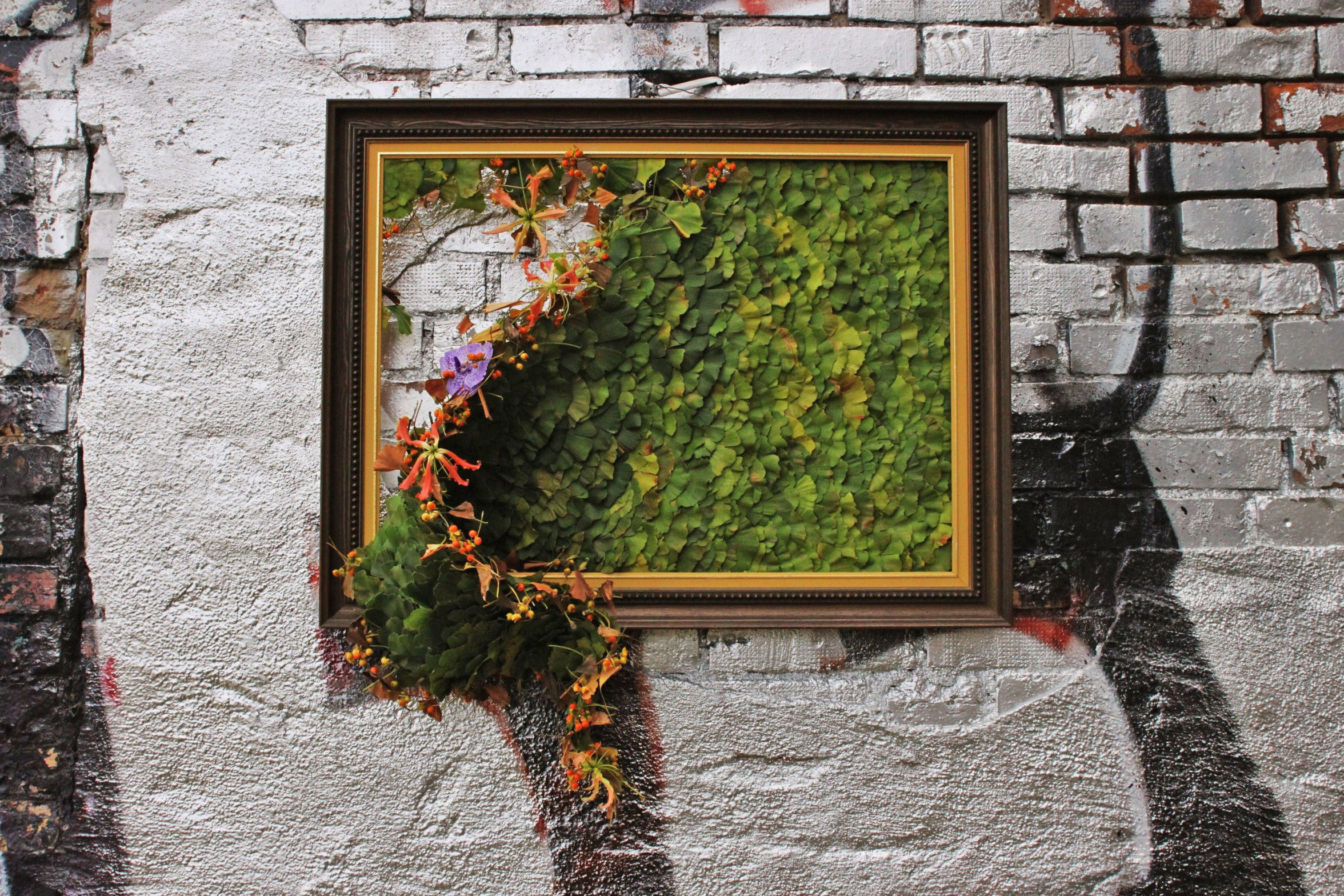 Wall art created with leaves from Ginkgo biloba. Malmö 2013