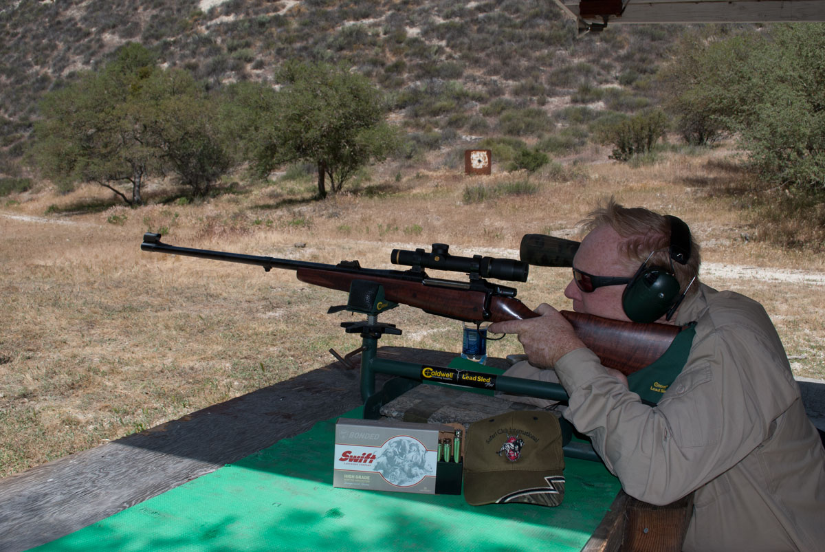 On the bench with Swift's new High Grade ammo. This rifle is a CZ 550 in .375 H&H.