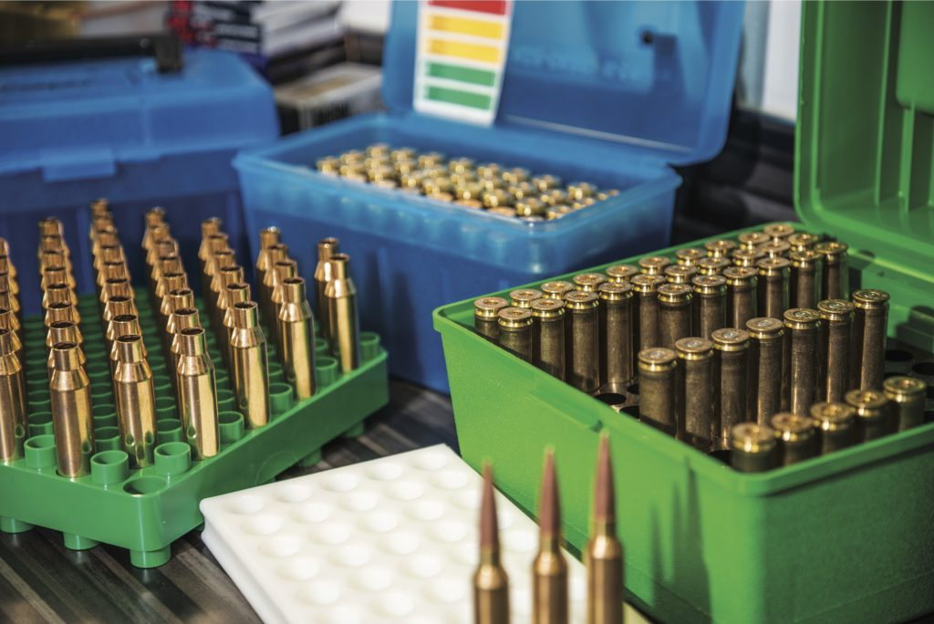 Reloading trays help keep your cases upright when they're full of powder, and ammo boxes help protect and organize your brass and finished cartridges.
