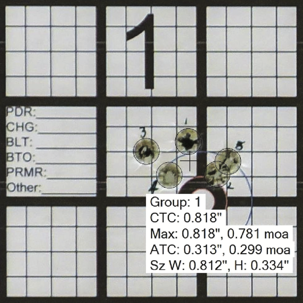 This is a typical output from On Target. You take a photo of your target and set the scale. Next, locate the bullet holes, and On Target calculates the rest. All measurements can also be displayed graphically over the target. This output shows bullet hole outlines and group center with the metrics listed below.