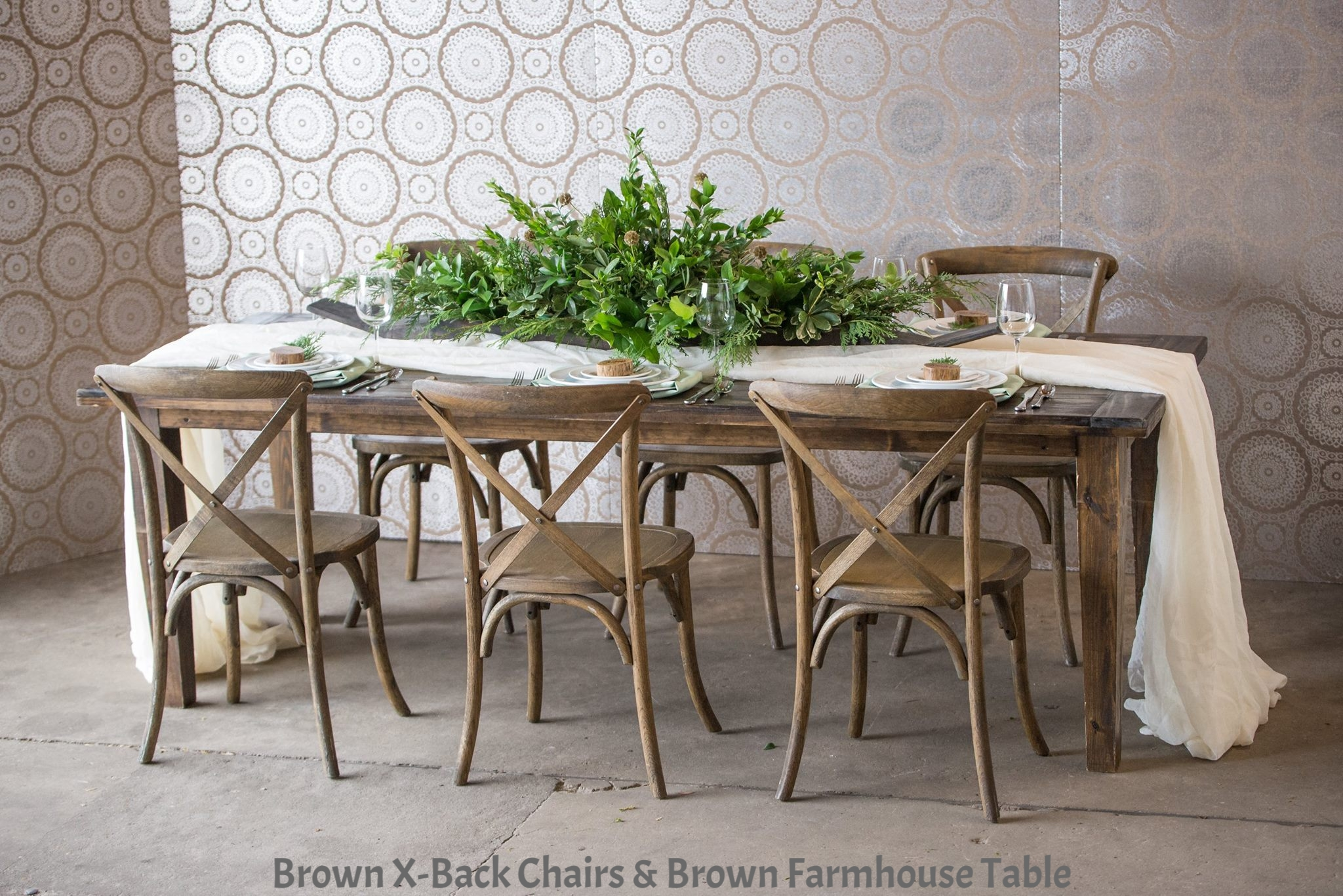 Brown Farmhouse Table with X-Back Chairs