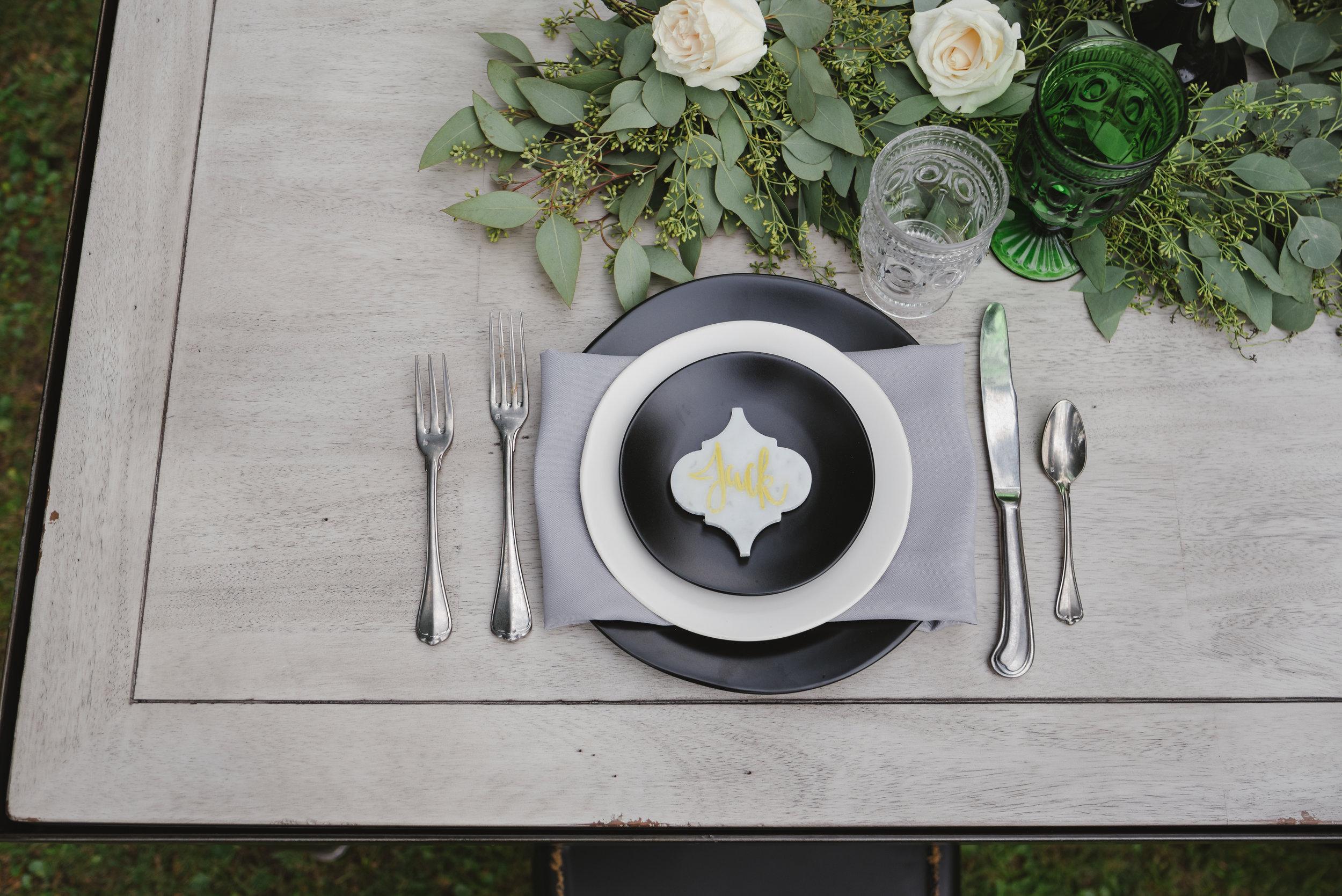 Black & White Heirloom Dinnerware w/ San Marco Flatware