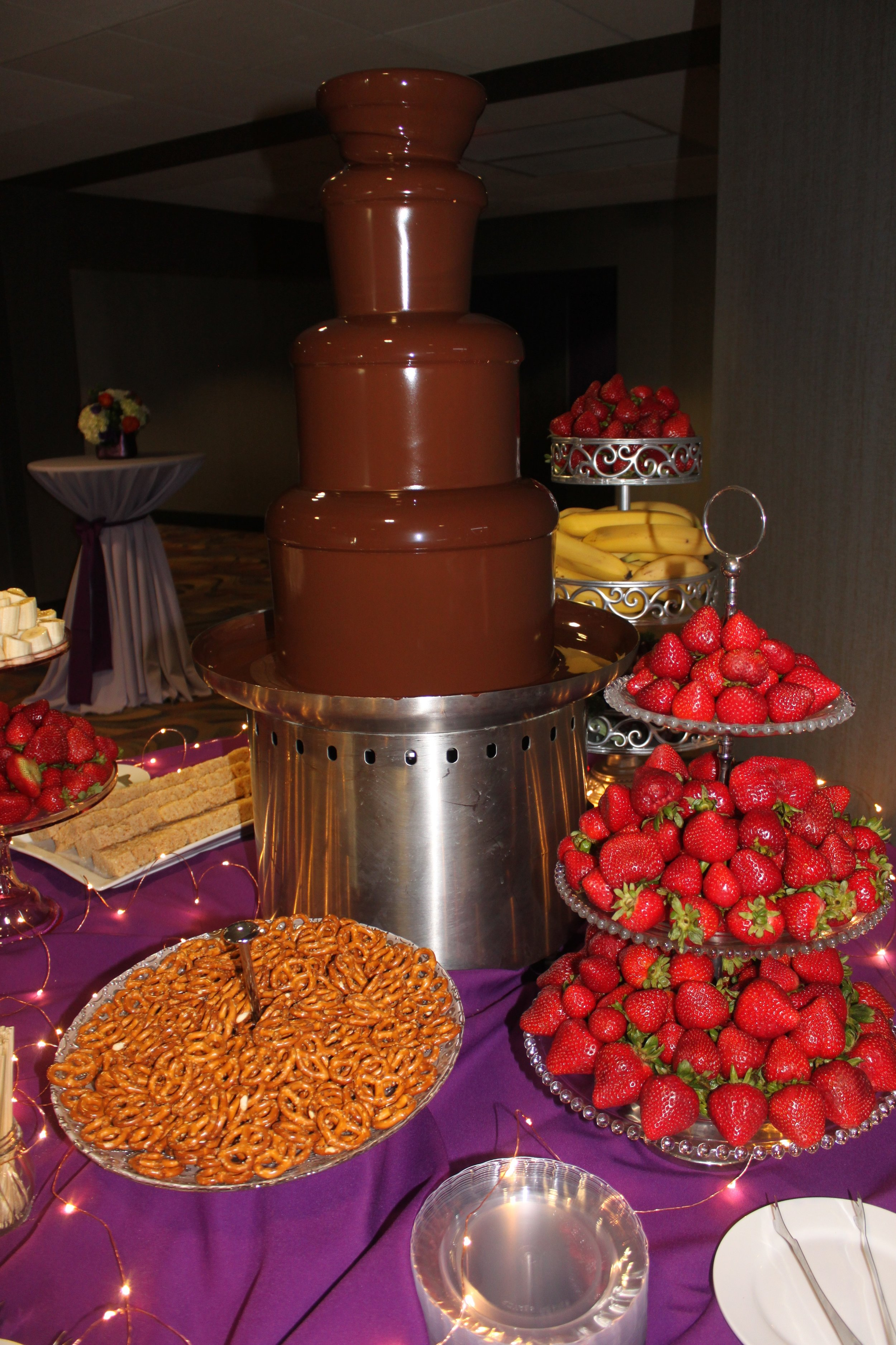 Chocolate Fountain - Energize your next event with a spectacular fountain cascading with warm Belgian chocolatePackage includes:4-Tier Fountain with Premium Dark Belgian ChocolateOptional Dipping Items:Strawberries, Bananas, Pineapple, Cherries, and BlueberriesPretzels, Marshmallows, Rice Krispie Treats,Lady Finger Cookies, and Fudge Brownie Triangles