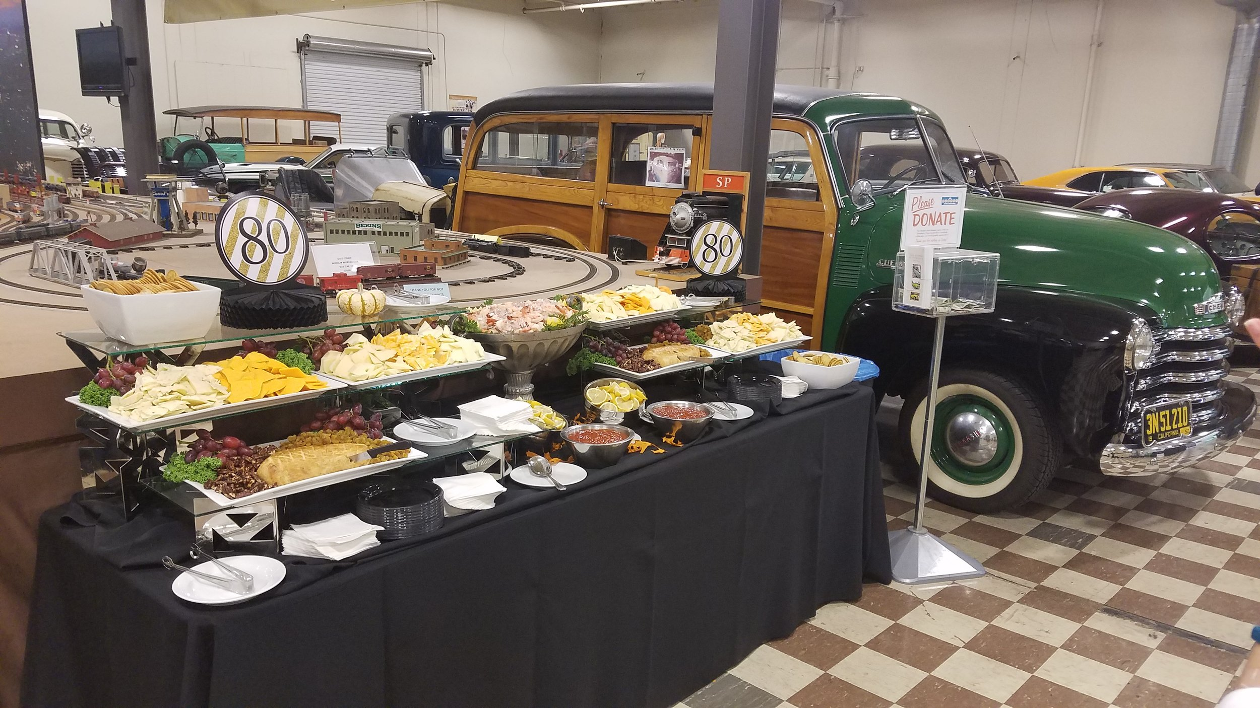 Cheese Display with Shrimp Cocktail at Murphy Auto Museum in Oxnard