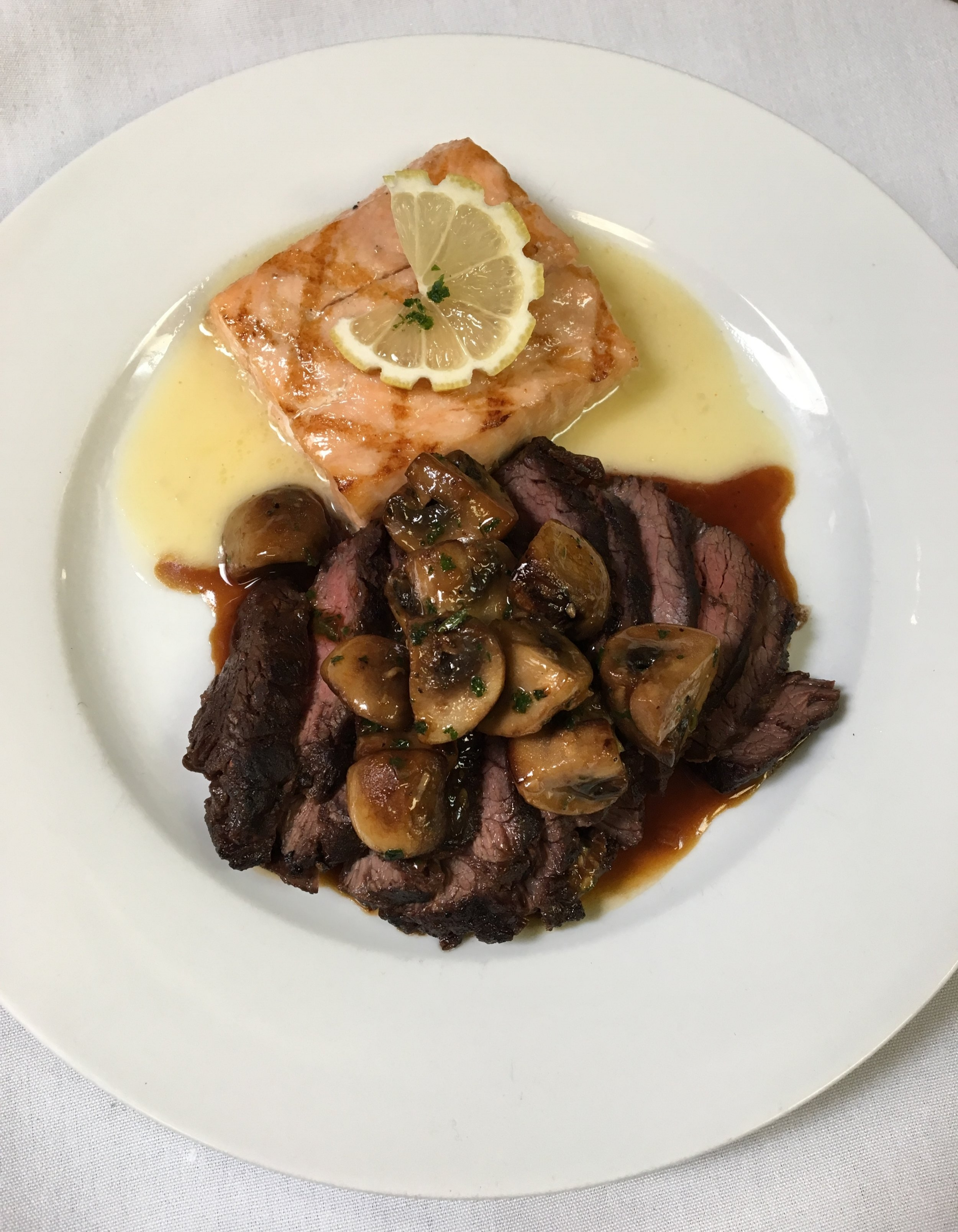 Skirt Steak with Sauteed Mushroom and Grilled Salmon