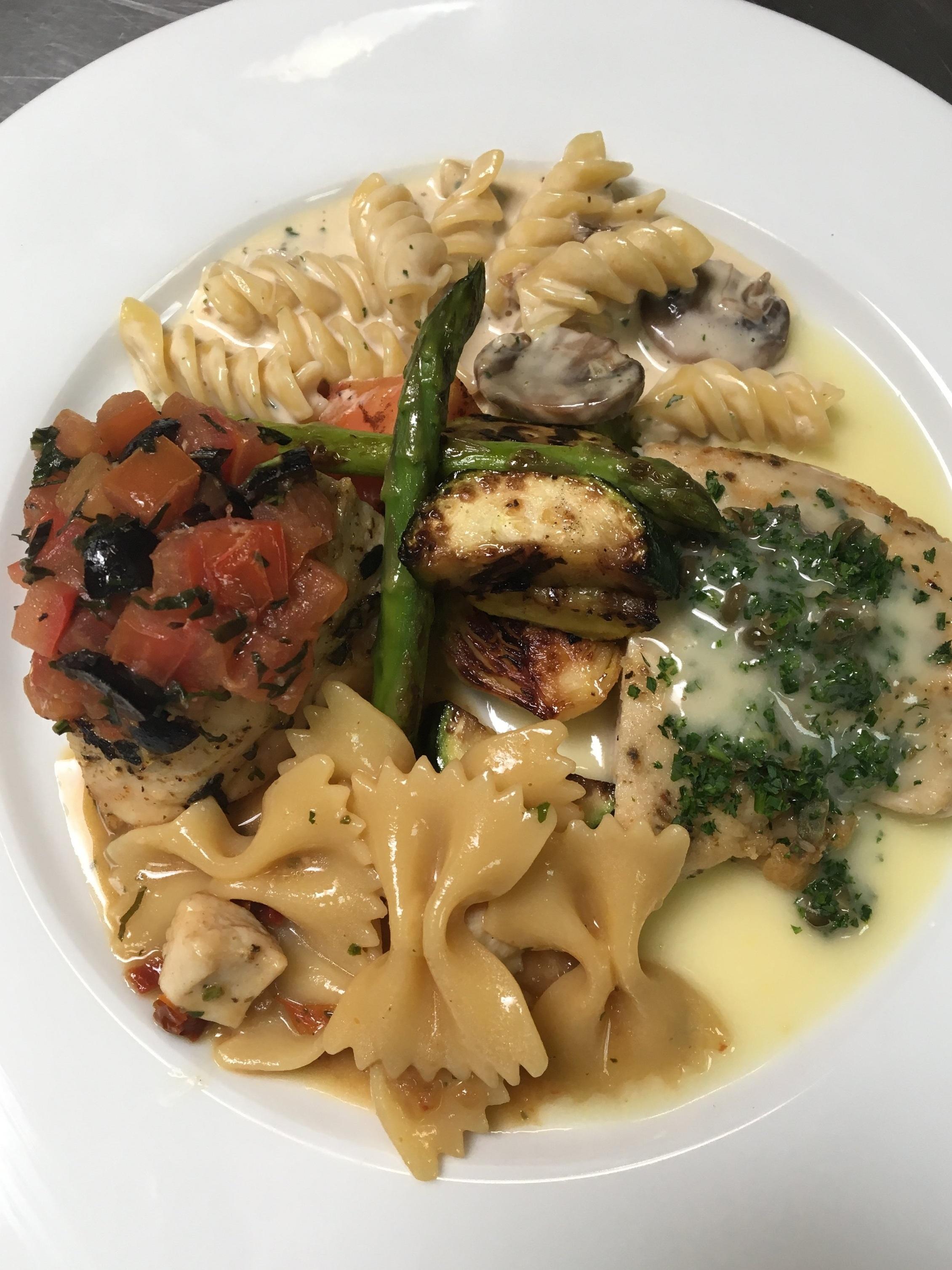 Grilled Mediterranean Herb Chicken Breast, Chicken Piccata, Porcini Pasta, Pasta Primavera, and Grilled Vegetable Medley