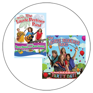 "LBB DVDs  $8.00 each, ""We Are The Laurie Berkner Band"" or ""Party Day"""