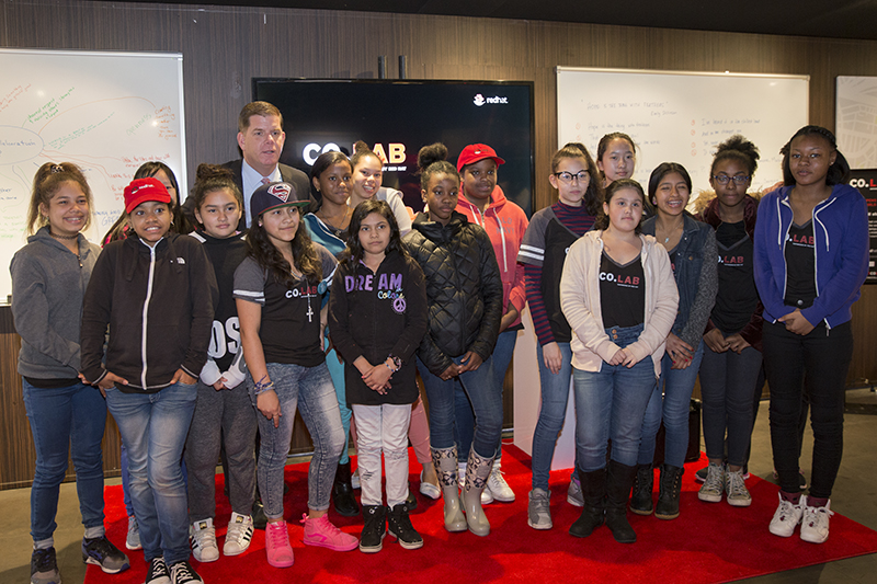 Mayor Walsh commended students for their work and their willingness to participate in this project during their April vacation, and congratulated them on taking a major step towards becoming the next generation of female software engineers, graphic designers, and photojournalists. Addressing the students and members of the media, Mayor Walsh also stressed the importance of project based STEAM learning experiences and made the case for offering more coding opportunities to students in Boston Public Schools.