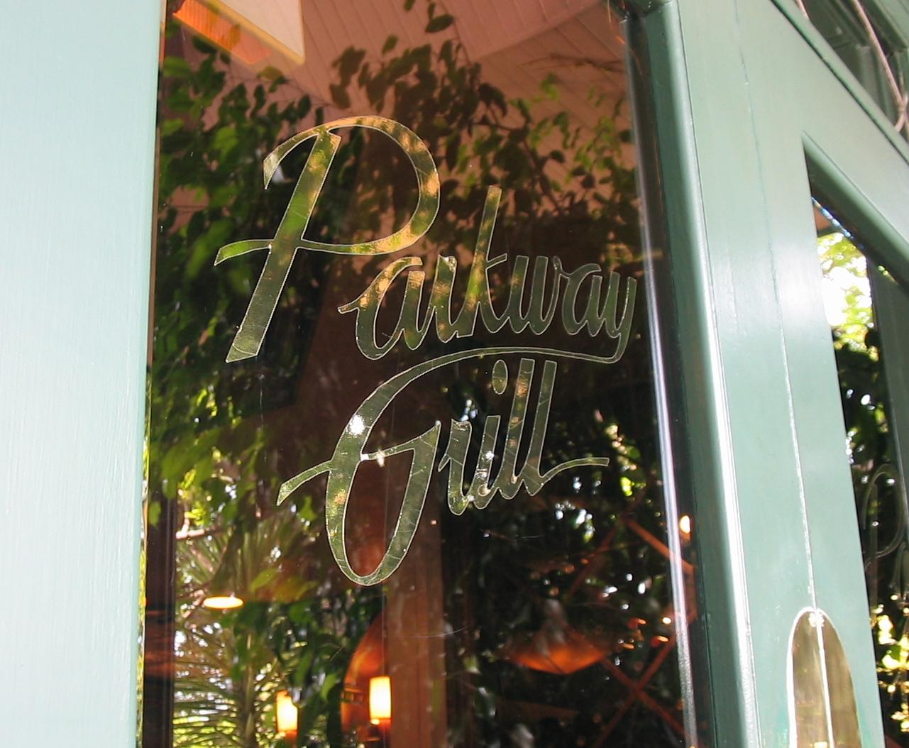 Parkway Grill entrance door.