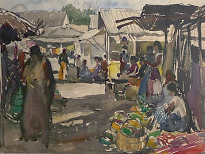 Untitled (Mexican Market Scene)  Signed lower left: Millard Sheets 1943 (Watercolor on paper, 22 x 30 inches)