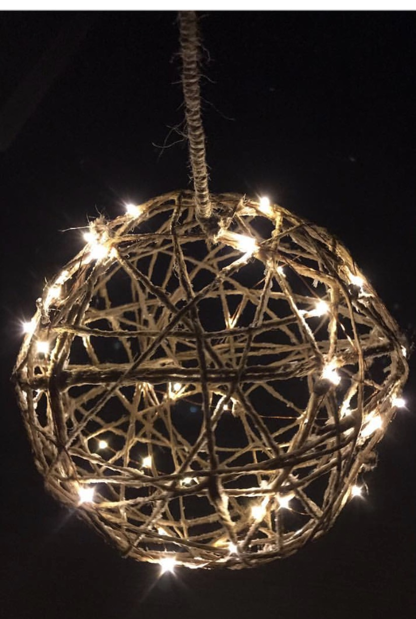 Once the ball is cleaned off you can add the led light and then hang! You can hang them inside or outside on a patio or porch.   Enjoy!