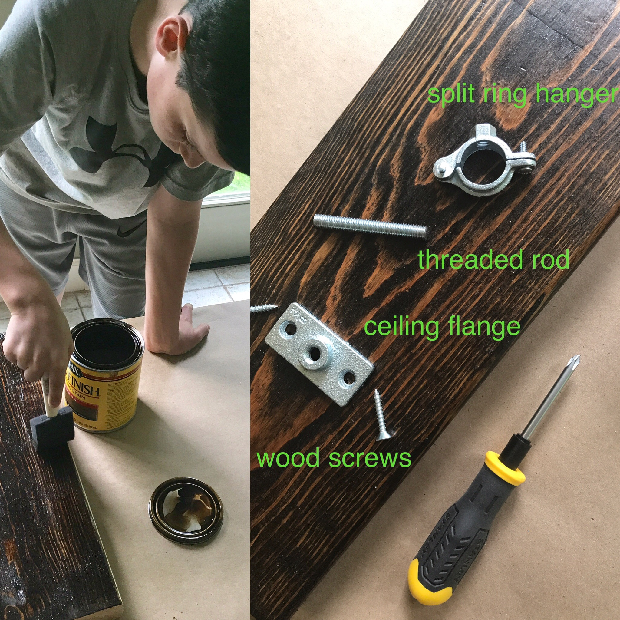 After sanding you can put on a few coats of stain. Once that dries, it's time to seal the wood. Wait 24 hours and then you can start assembling the sconce.   Have fun!