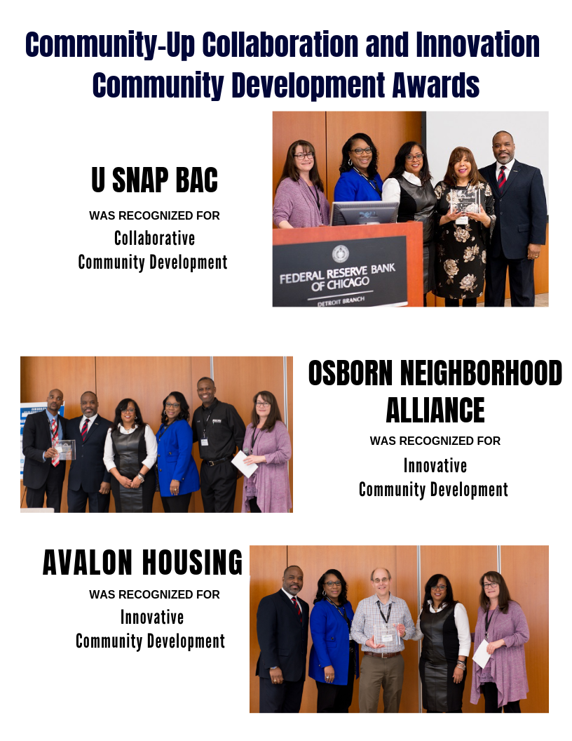 2019 Community-Up Award Recognition to U Snap Bac, Osborn Neighborhood Alliance and Avalon Housing for their great Collaborative or Innovative work in Community Development.