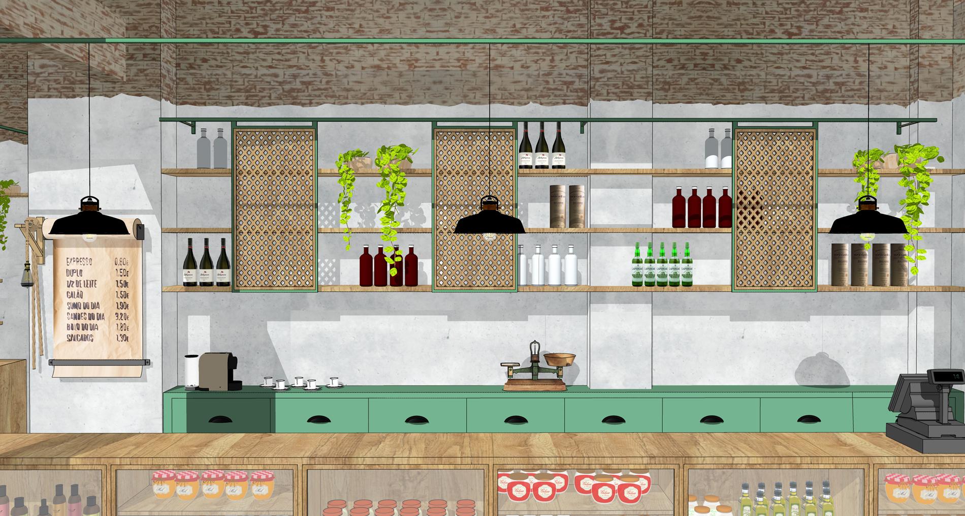 Projeto de Interiores.  Projeto para a Mercearia Esteves, localizada em Santa Teresa, Rio de Janeiro. Para visualizar mais, clique  aqui . | 3D modeling on SketchUp