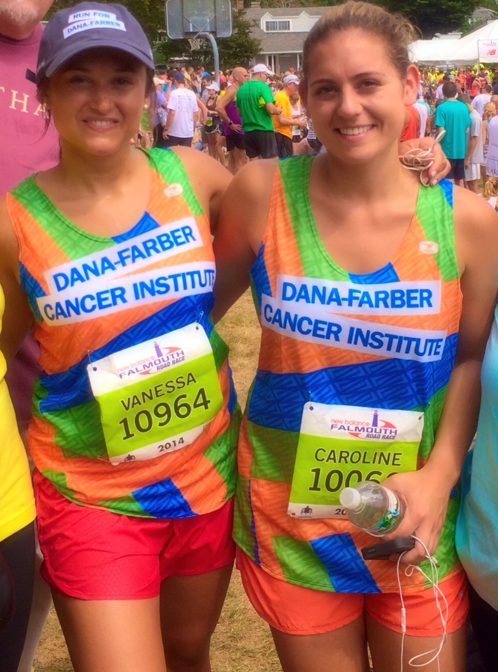 Vanessa Marcotte (left) and cousin Caroline Tocci (right) after the Falmouth Road Race in August 2014.