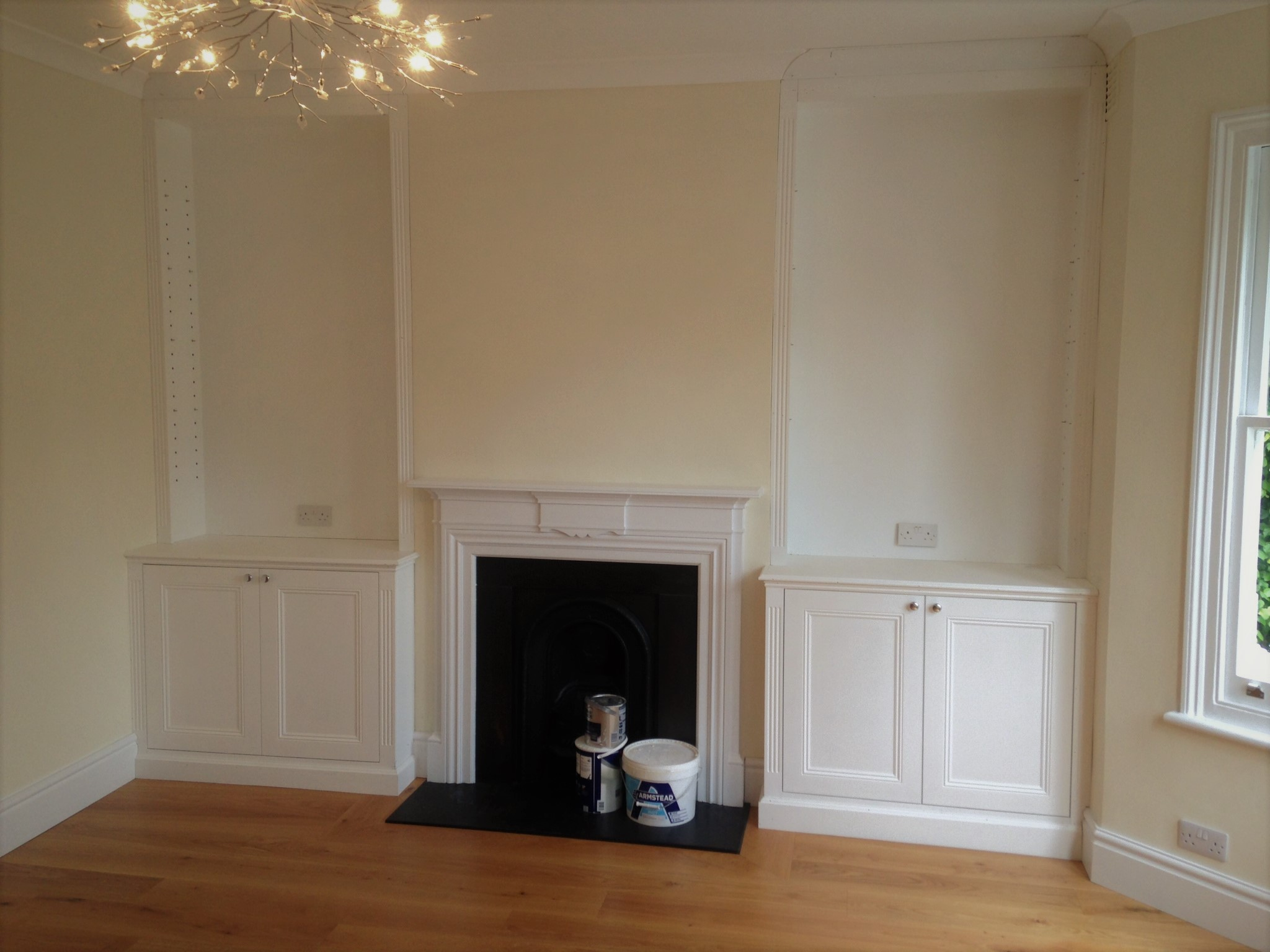 Classic Alcove Cabinets with top boxes.