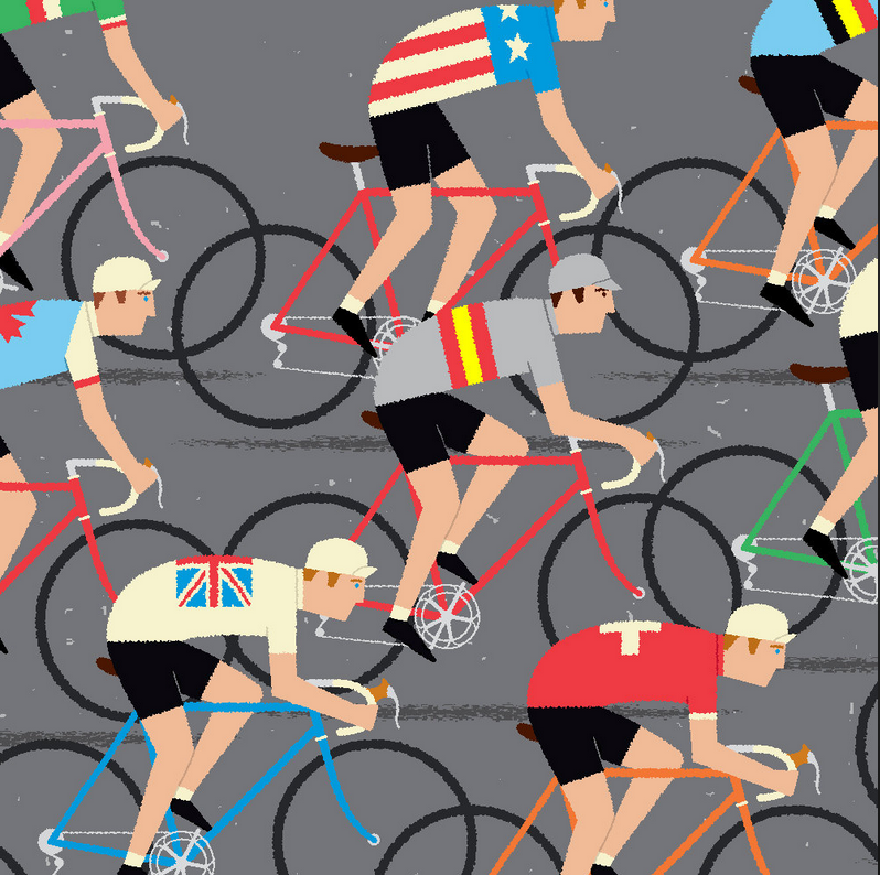 Peloton of Road Cyclist  -gumo (etsy)