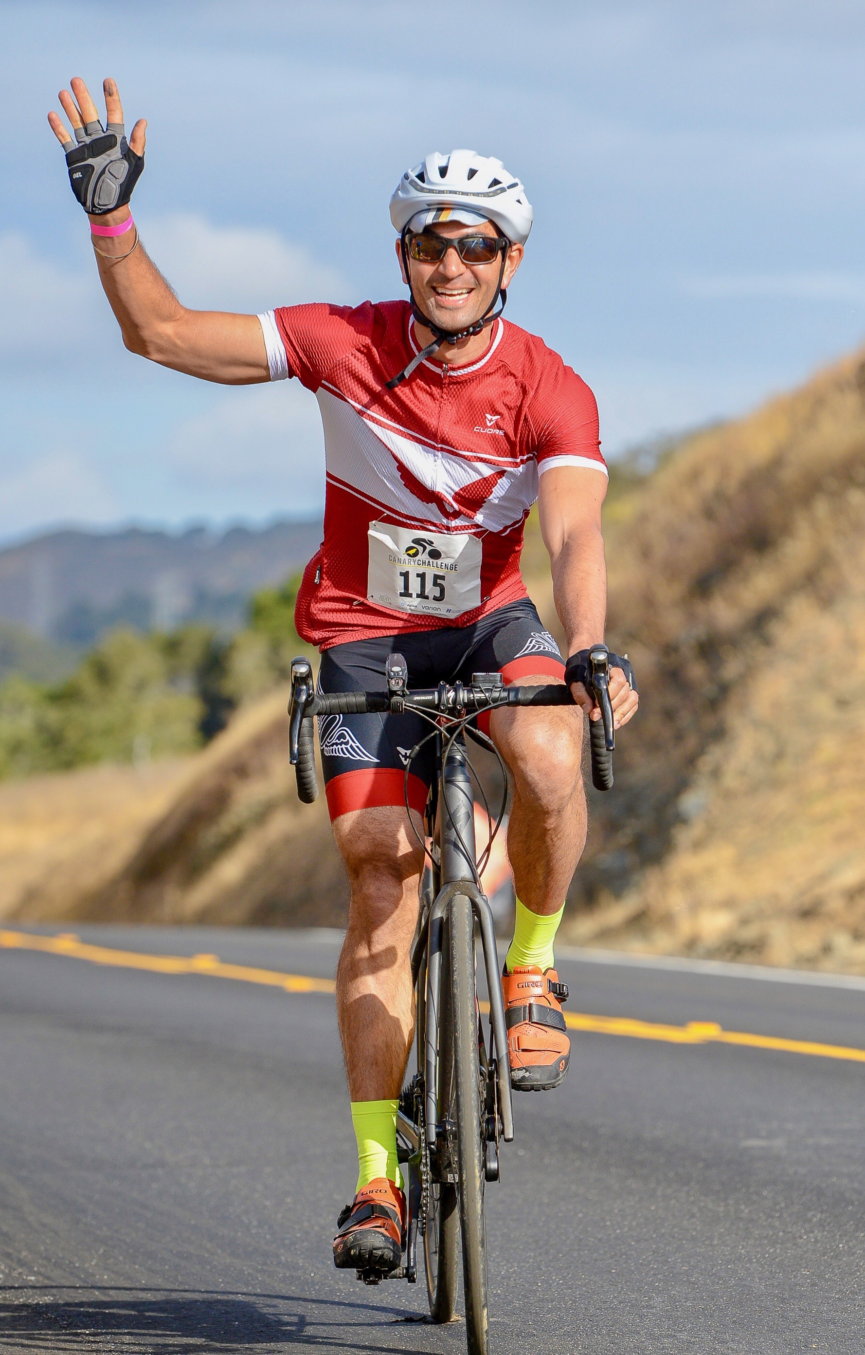 Dr. A cycling in the 100 mile Canary Challenge