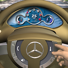 MERCEDES BENZ    STEERING WITH GUI   Patton Design creates an advanced interactive steering wheel GUI for Mercedes.