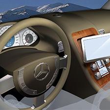 MERCEDES BENZ    TOUCH SCREEN ERGONOMICS   Advanced concept articulating touchscreen.