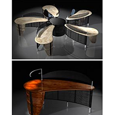 PATTON FLOWER SYSTEM    FORM FOLLOWS NATURE    A complete open office system with an organic flower petal design.
