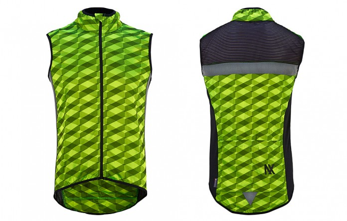 The CDC Audax Windproof Cycling Gilet shows off color, style, and a whole lot of reflective details, including side reflectivity strips not seen here.