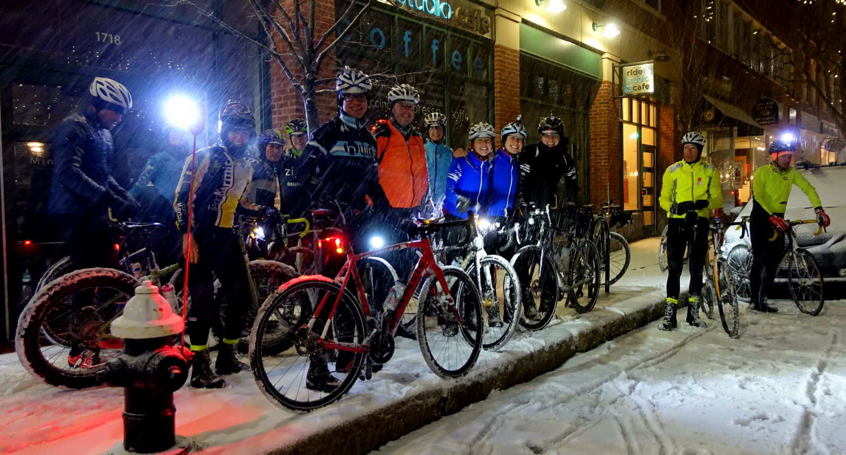 Pictured are the riders who attended the very first RSC First Snow Ride four years ago at 3am which is when the snow hit in 2015.