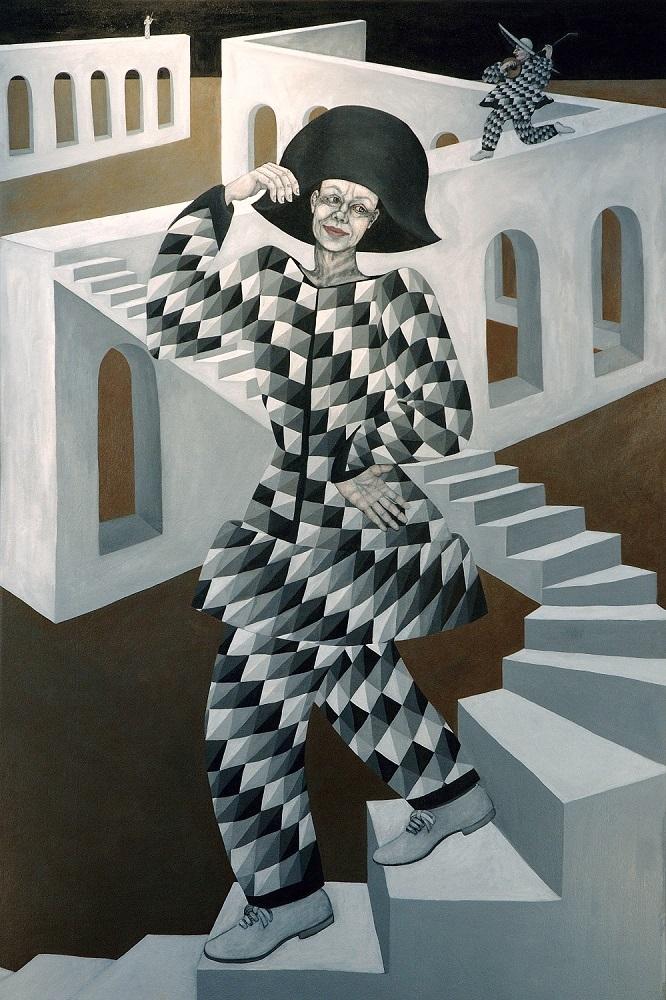 Harlequin, 6 ft x 4 ft, 182.88 cm x 121.92 cm, oil on canvas.
