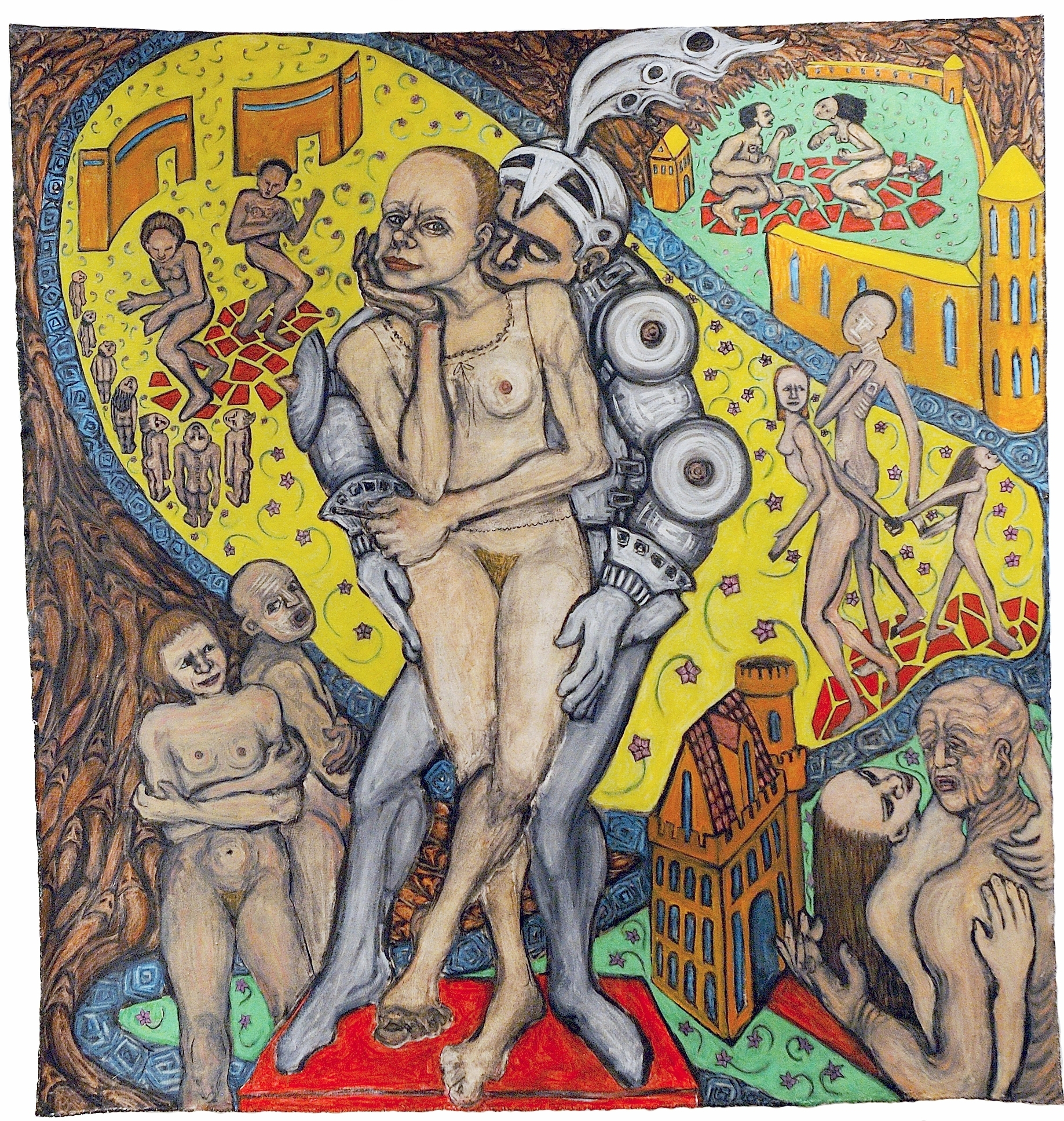 The Wife of Bath: Her Own Tale, 5.3 ft x 5 ft, 161.544 cm x 152.4 cm, oil on unstretched canvas