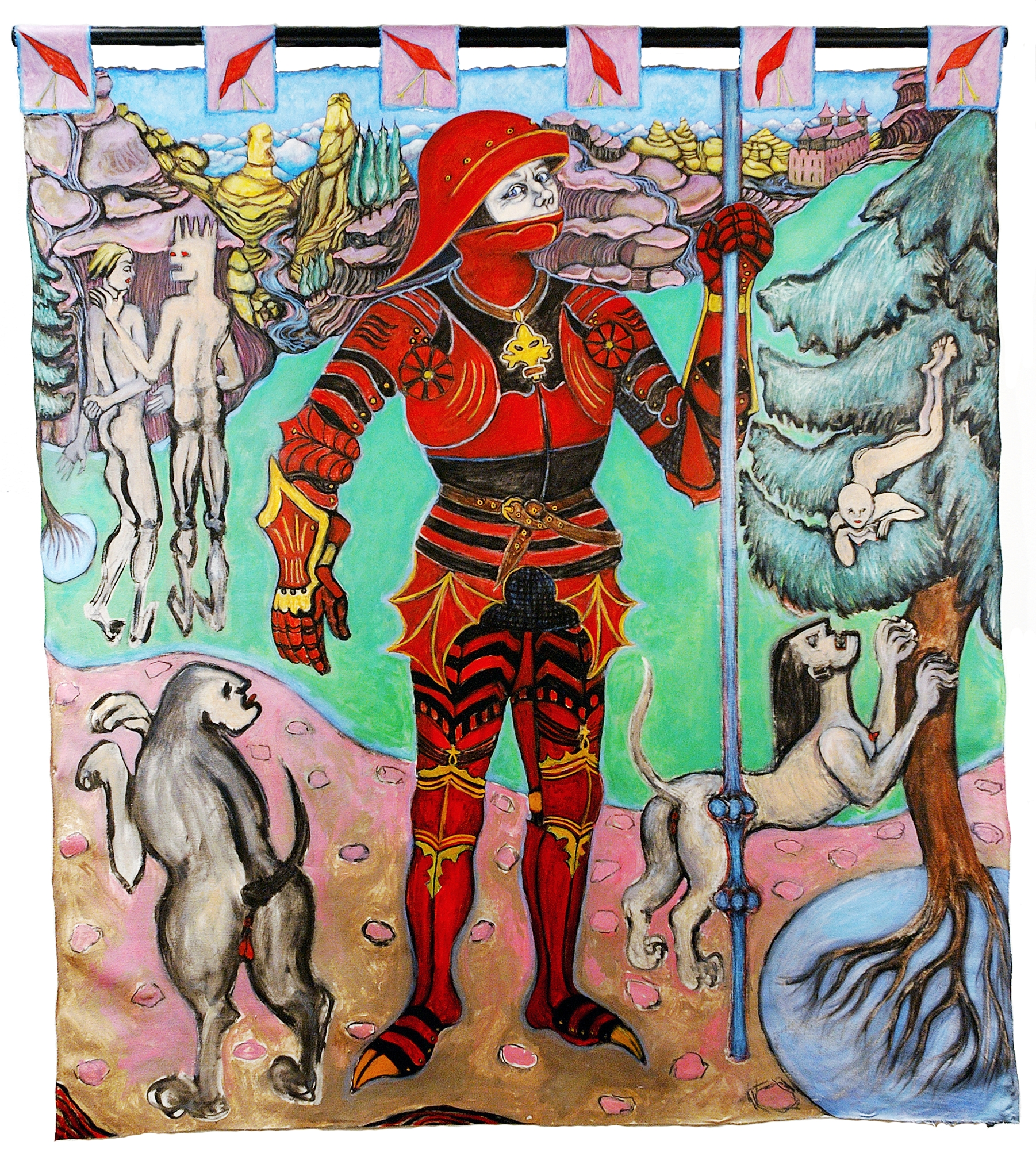 The Painted Knight (El caballero pintado), 5.67 ft x 5.10 ft, 172.82 cm x 155.45 cm, oil on unstretched canvas.