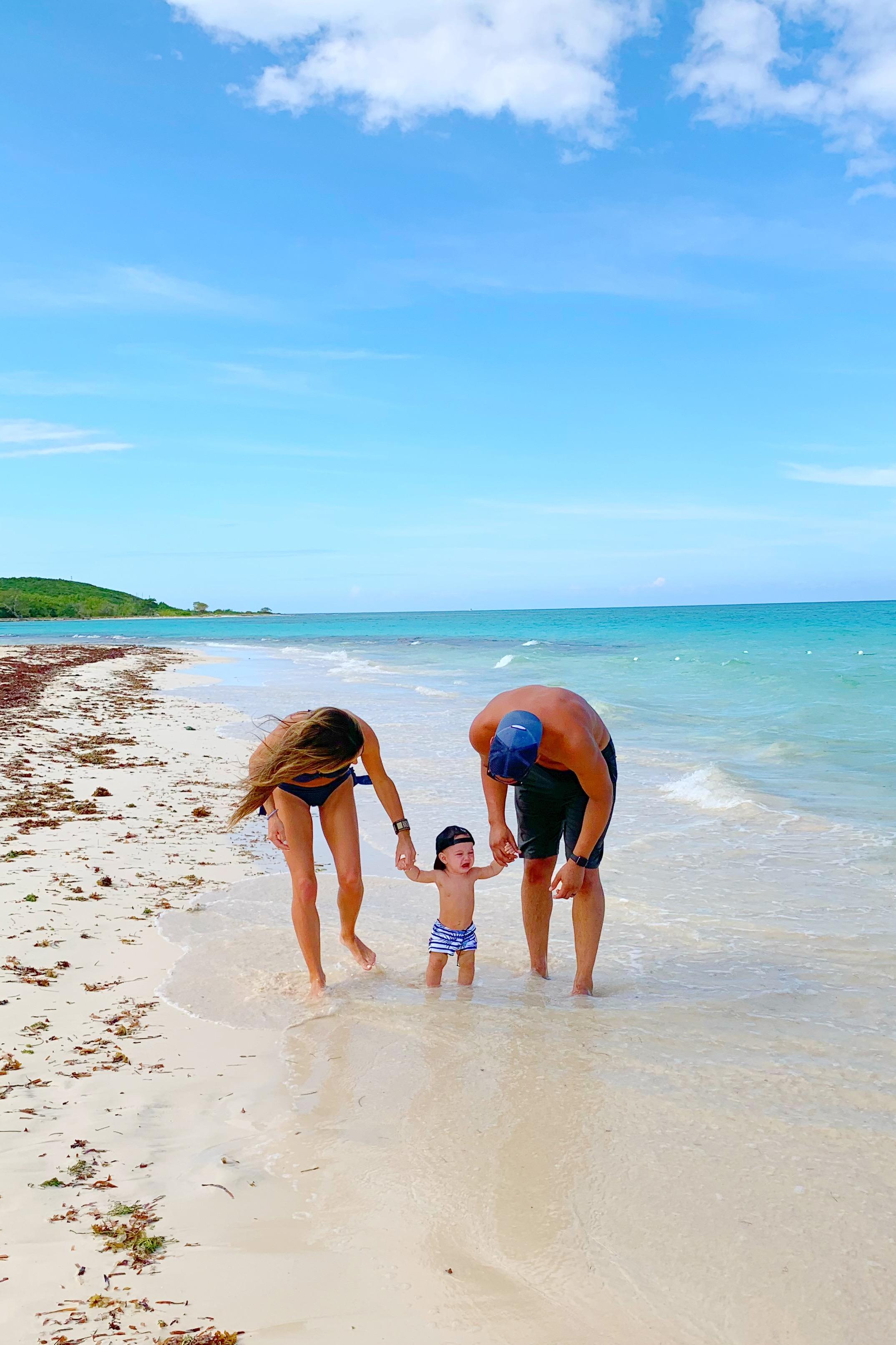 Easton was not a fan of the sand ocean! Ha!