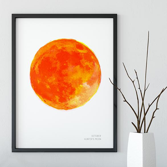 Framed art print by Drawn Together Art of October's full hunter's moon