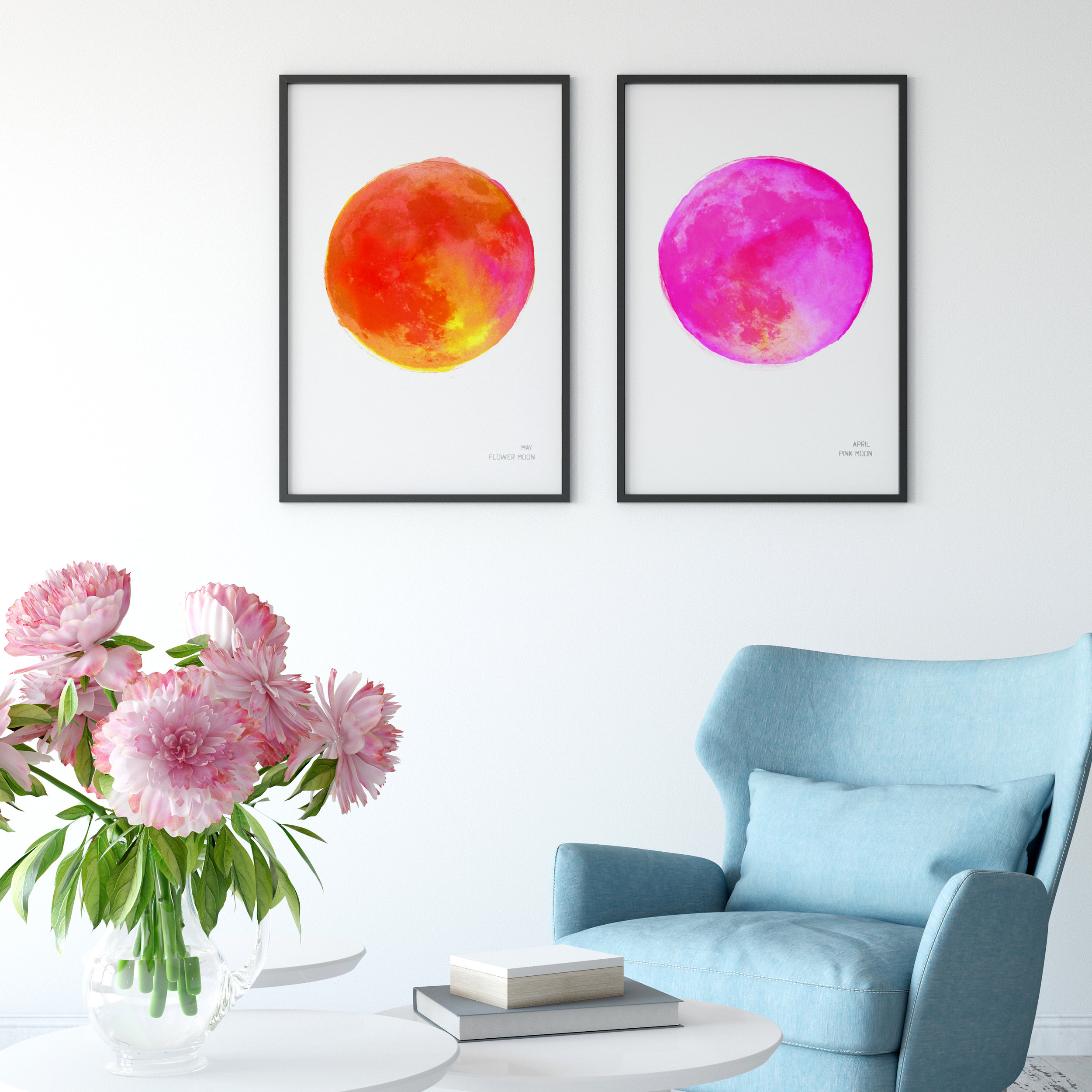 Orange and Pink May and April Full Moon Art Prints framed on the wall